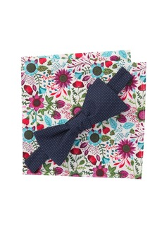 Original Penguin Bordallo Dot Bow Tie & Pocket Square Set