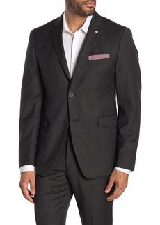 Original Penguin Brown Plaid Two Button Notch Lapel Suit Separate Wool Blend Blazer