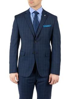 Original Penguin Dark Blue Plaid Two Button Notch Lapel Slim Fit Wool Blend Suit Separates Jacket
