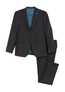 Original Penguin Dark Grey Check Two Button Notch Lapel Slim FIt Suit