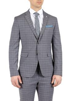 Original Penguin Grey Checkered Two Button Notch Lapel Slim Fit Suit Separates Jacket