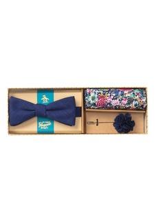 Original Penguin Hensel Solid Bow Tie, Pocket Square, & Lapel Pin Set