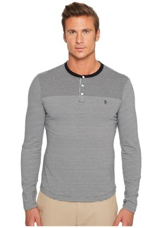 Original Penguin Long Sleeve Engineered Feeder Stripe Polo Heritage