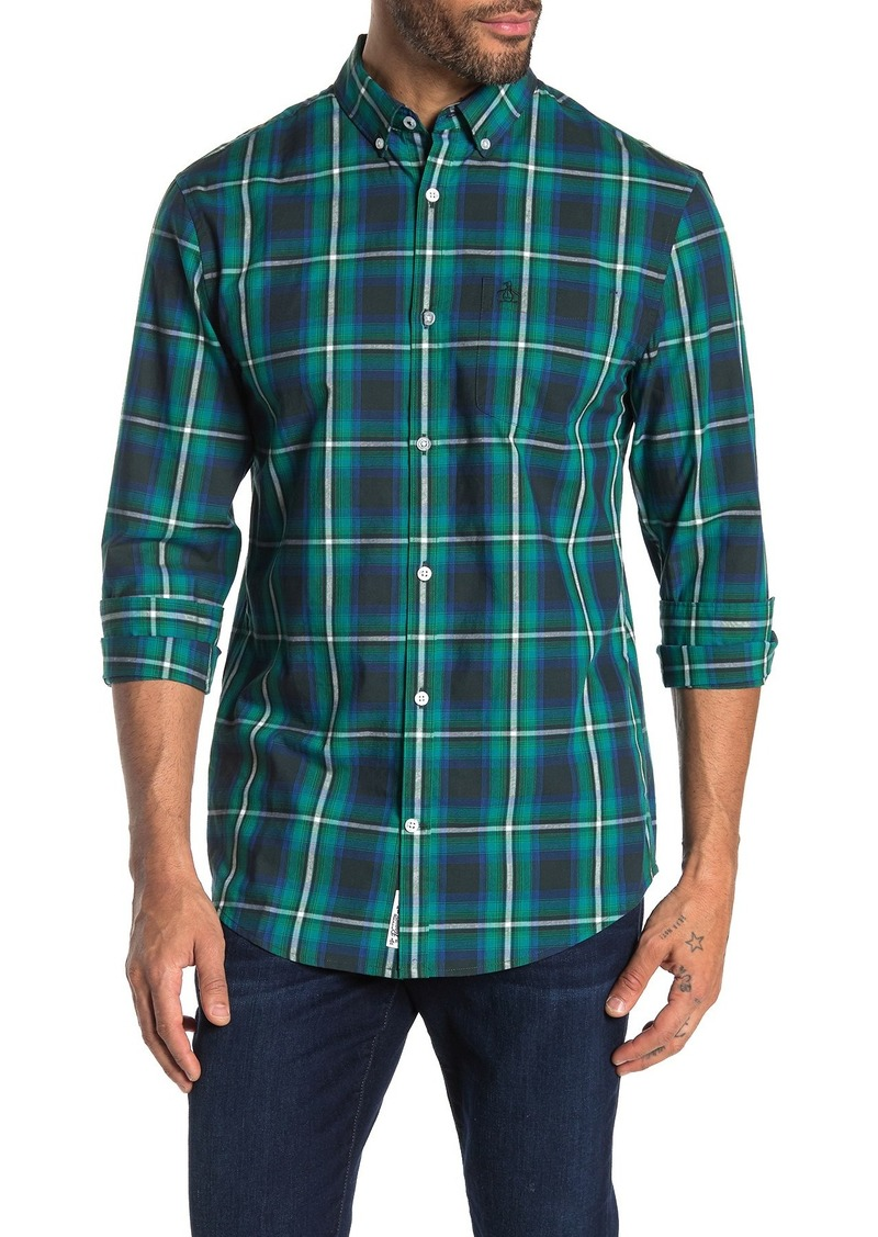 Original Penguin Long Sleeve Plaid Print Slim Fit Shirt