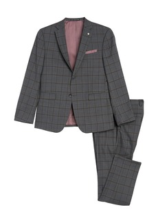 Original Penguin Medium Grey Plaid Two Button Notch Lapel Slim Fit Suit