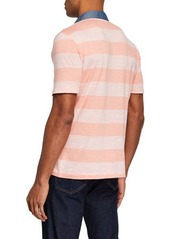 Original Penguin Men's Auto Stripe Slub Polo Shirt with Chambray Collar