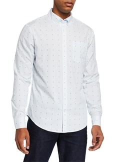 Original Penguin Men's Daisy Printed Stripe Long-Sleeve Sport Shirt