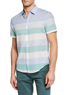 Original Penguin Men's Engineered Stripe Short-Sleeve Button-Down Shirt