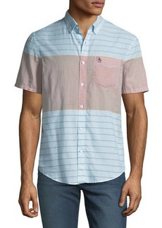 Original Penguin Men's Engineered-Stripe Short-Sleeve Sport Shirt