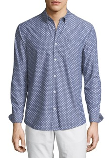 Original Penguin Men's Hand-Drawn Geo-Print Long-Sleeve Button-Down Shirt