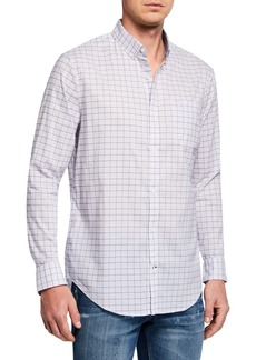 Original Penguin Men's Heathered Lightweight Windowpane Sport Shirt