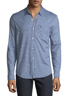 Original Penguin Men's Jaspe-Knit Sport Shirt  Blue