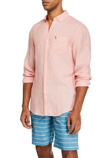 Original Penguin Men's Linen Long-Sleeve Sport Shirt