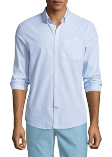 Original Penguin Men's Long-Sleeve Button-Down Clipped Dobby Shirt