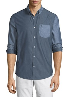Original Penguin Men's Long-Sleeve Button-Front Tonal Contrast Shirt