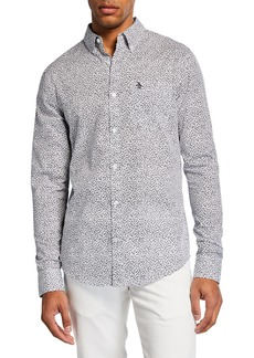 Original Penguin Men's Long-Sleeve Mini Floral Sport Shirt