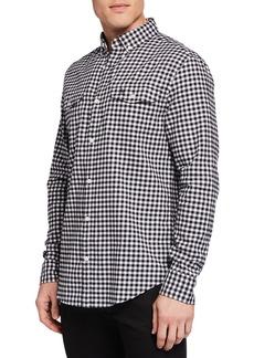 Original Penguin Men's Long-Sleeve Textured Gingham Sport Shirt