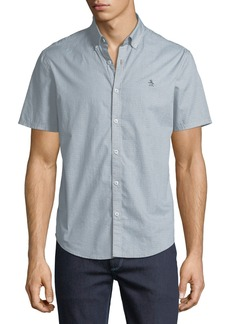 Original Penguin Men's Micro Geometric-Print Short-Sleeve Sport Shirt