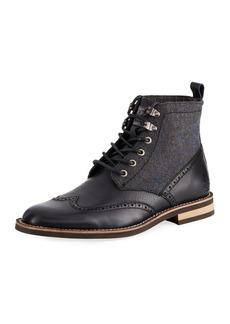 Original Penguin Men's Nathan Leather & Flannel Wing-Tip Boots