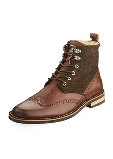 Original Penguin Men's Nathan Leather & Flannel Wing-Tip Boots