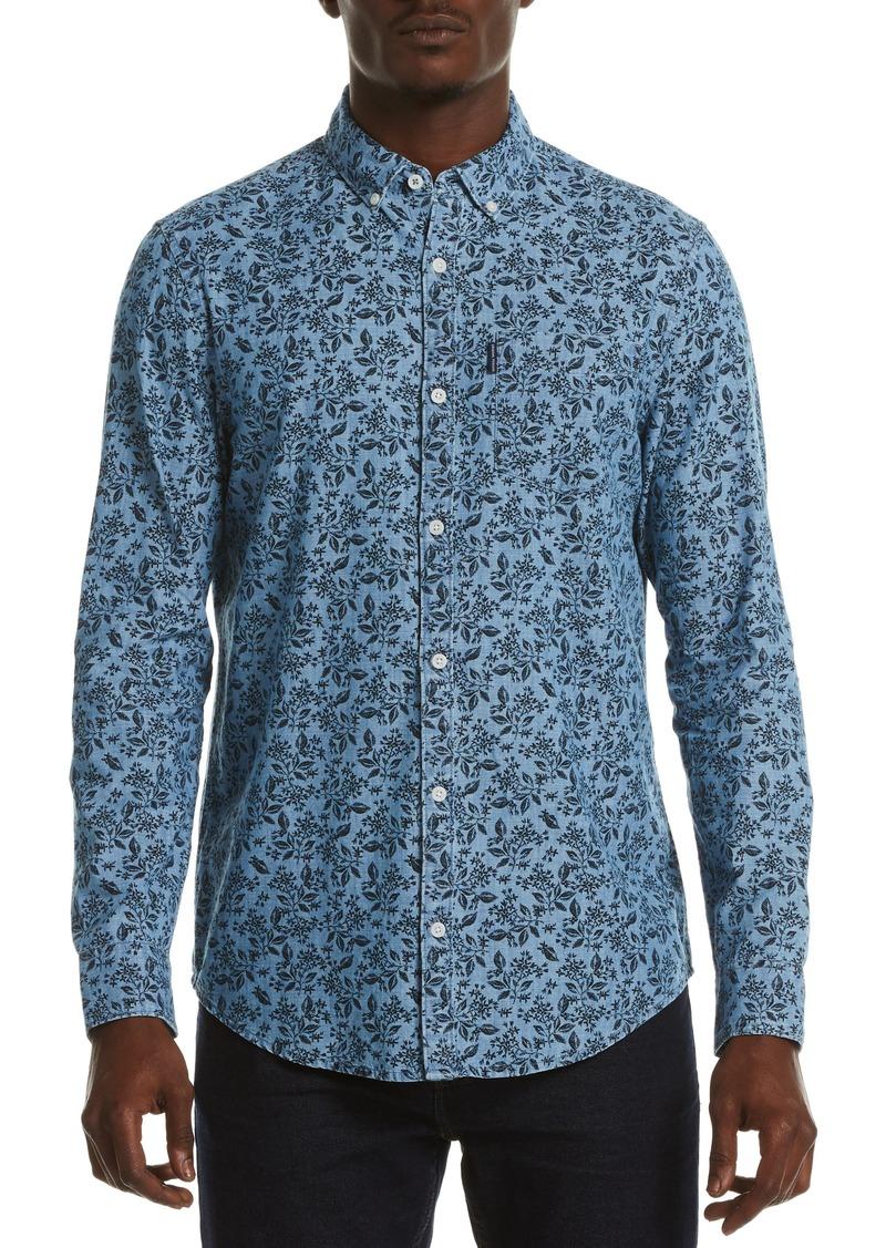 Original Penguin Floral Chambray Cotton Button-Down Shirt