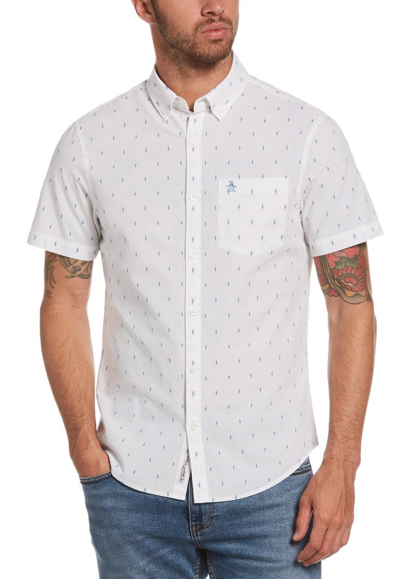 Original Penguin Regular Fit Diamond Print Short Sleeve Button-Down Shirt
