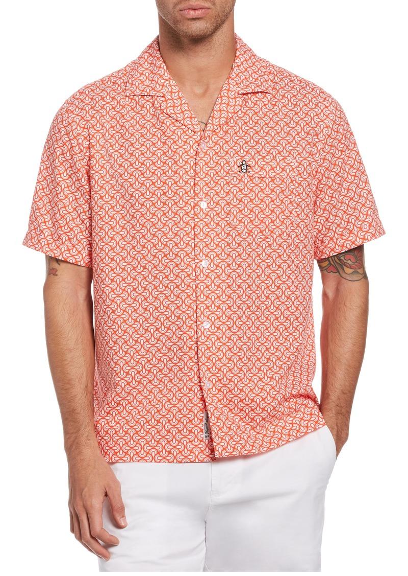 Men's Original Penguin Retro Geo Short Sleeve Button-Up Shirt