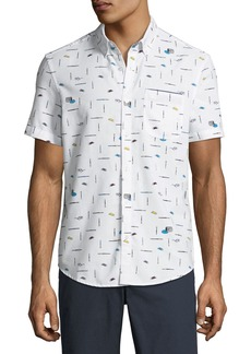 Original Penguin Men's Paintbrush-Print Short-Sleeve Button-Front Casual Shirt