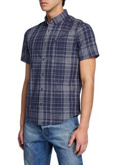 Original Penguin Men's Plaid Short-Sleeve Button-Down Shirt