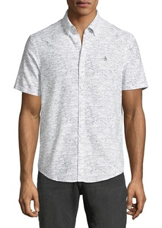 Original Penguin Men's Shark-Print Short-Sleeve Oxford Shirt