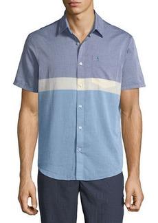 Original Penguin Men's Short-Sleeve Button-Down Colorblock Sport Shirt