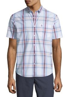 Original Penguin Men's Short-Sleeve Button-Front Plaid Cotton Shirt