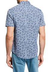 Original Penguin Men's Short-Sleeve Chambray Floral Shirt