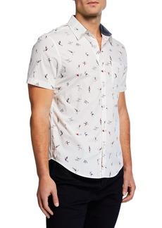 Original Penguin Men's Short-Sleeve Clumsy Skater Print Shirt