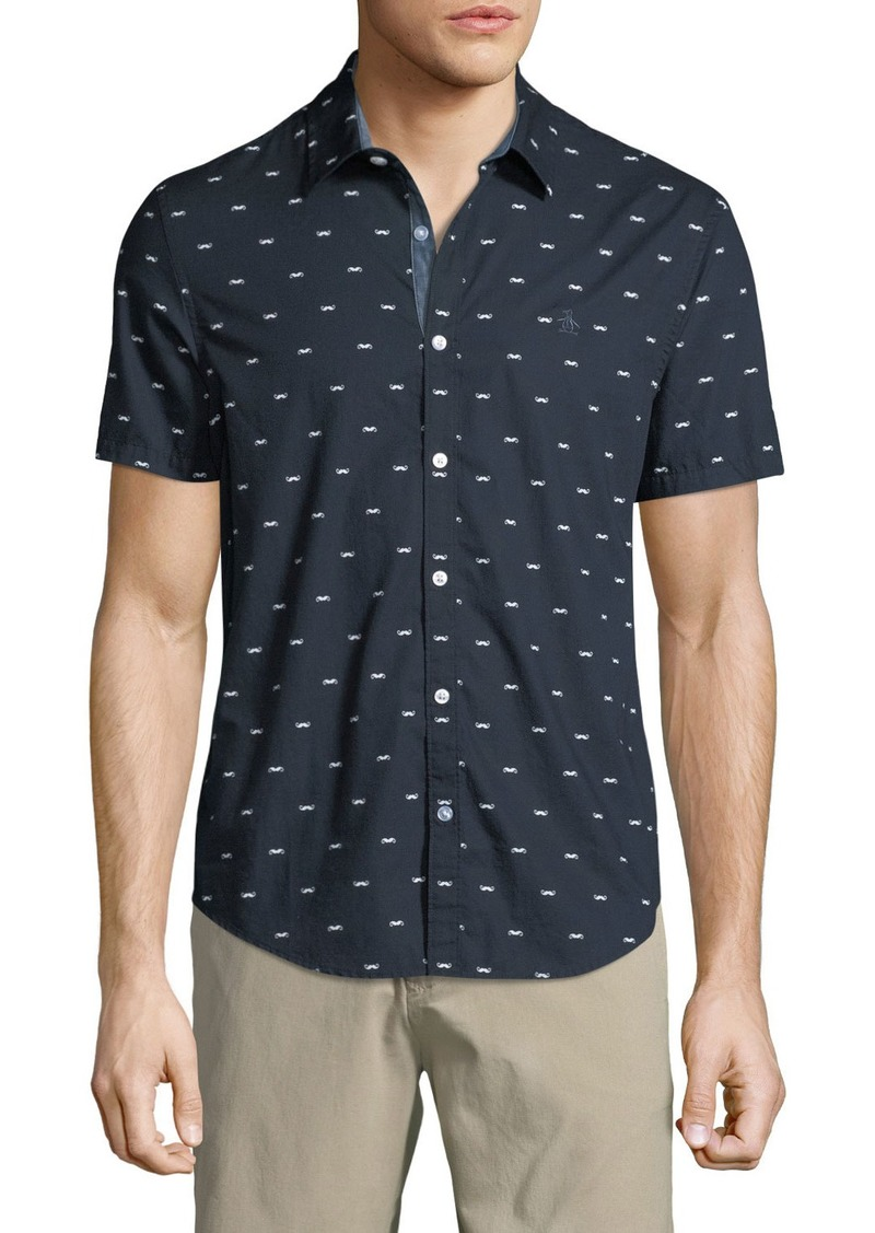 Original Penguin Men's Short-Sleeve Mustache Print Shirt