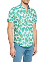 Original Penguin Men's Short-Sleeve Palm Print Shirt