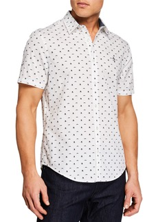 Original Penguin Men's Short-Sleeve Top Hat and Mustache Shirt