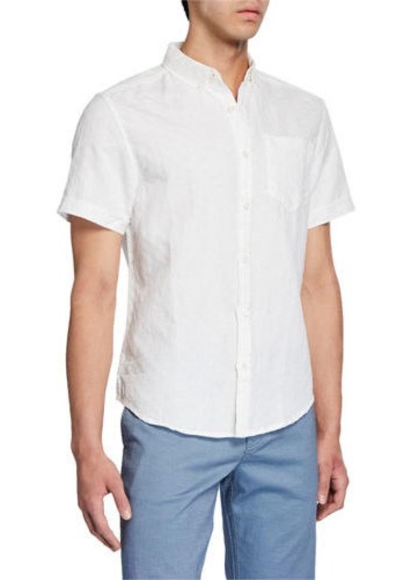 Original Penguin Men's Short-SleeveTextured Check Button-Down Shirt