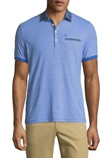 Original Penguin Men's Stripe Chambray-Collar Shirt w/ Polo Pocket