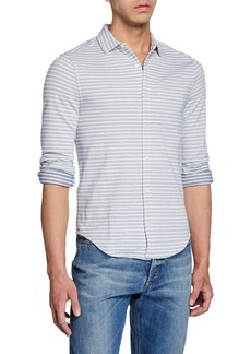 Original Penguin Men's Striped Twill Knit Button-Down Shirt