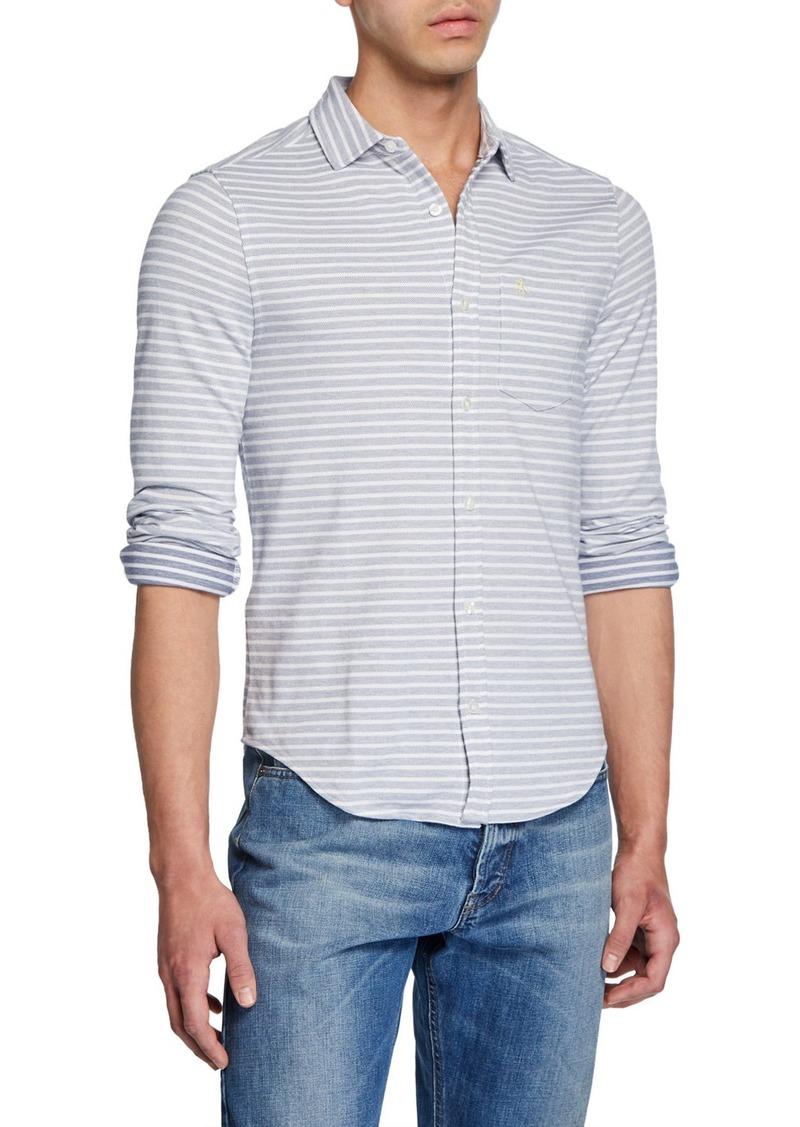 Original Penguin Men's Striped Twill Knit Button-Down Shirt