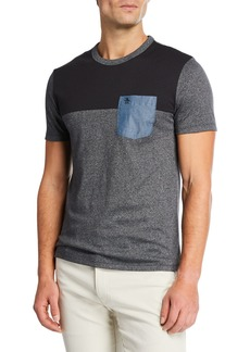 Original Penguin Men's T-Shirt with Denim Patch Pocket