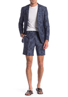 Original Penguin Navy Palm Leaf Print Two Button Notch Lapel Skinny Fit Suit