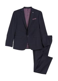 Original Penguin Navy Plaid Print One Button Notch Lapel Slim Fit Suit