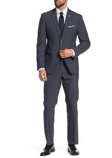 Original Penguin Navy Plaid Two Button Notch Lapel Slim Fit Suit