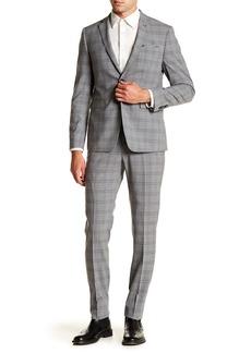 Original Penguin Nested Grey Plaid Two Button Notch Lapel Suit