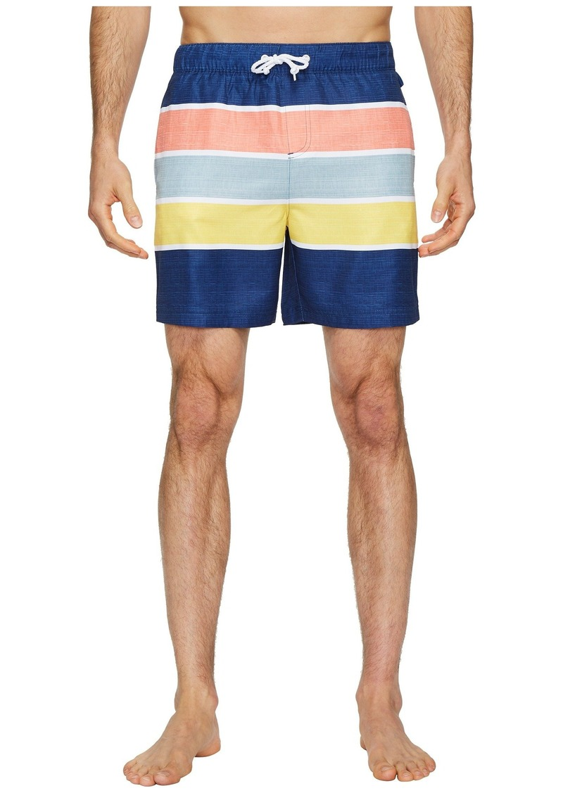 9bda997efa Color Block Stripe Elastic Volley Stretch Swim Shorts. Original Penguin