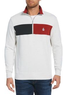 Original Penguin Colorblock Quarter Zip Sweatshirt