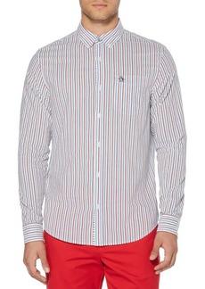 Original Penguin Hairline Multicolor Vertical Stripe Long Sleeve Shirt
