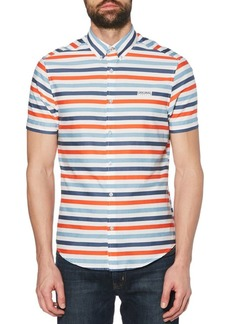 Original Penguin Horizontal Roadway Striped Button-Down Stretch Shirt